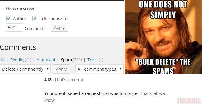bulk Delete Spam Comments in WordPress